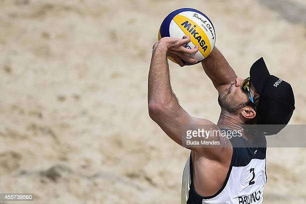 Bruno Schmidt in action during a beach volleyball match in the Banco do Brasil Beach Volleyball Open at Icarai beach on September 19 2014 in Niteroi...