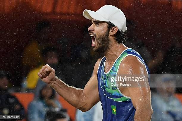 Bruno Schmidt Oscar of Brazil reacts during the Men's Beach Volleyball Gold medal match against Paolo Nicolai and Daniele Lupo of Italy at the Beach...