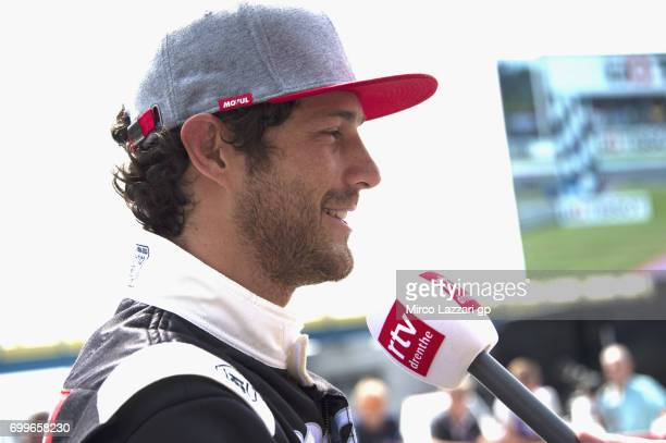 Bruno Senna of Brasile speaks with journalists durin the preevent A race between a Yamaha M1 and a McLaren GT3 during the MotoGP Netherlands Preview...