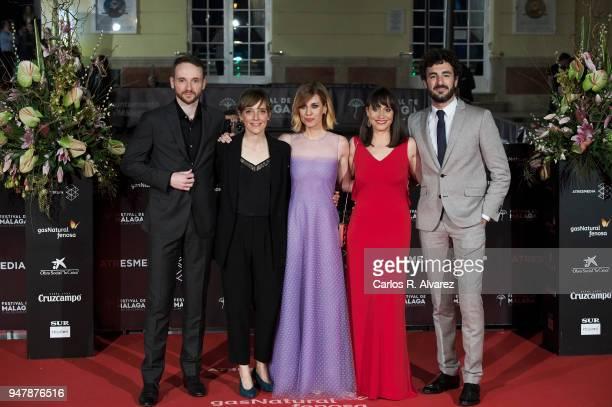 Bruno Sevilla Elena Trape Alexandra Jimenez Maria Ribera and Alejandro Albarracin attend 'Las Distancias' premiere during the 21th Malaga Film...
