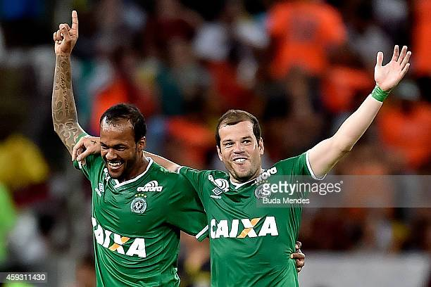 Bruno Silva and Tiago Luis of Chapecoense celebrate a scored goal during a match between Fluminense and Chapecoense as part of Brasileirao Series A...