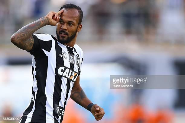 Bruno Silva of Botafogo celebrates a scored goal against Atletico Mineiro during a match between Botafogo and Atletico Mineiro as part of Brasileirao...
