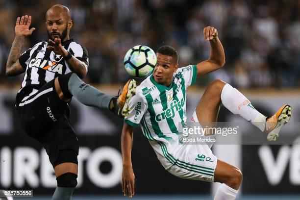 Bruno Silva of Botafogo struggles for the ball with Deyverson of Palmeiras during a match between Botafogo and Palmeiras as part of Brasileirao...