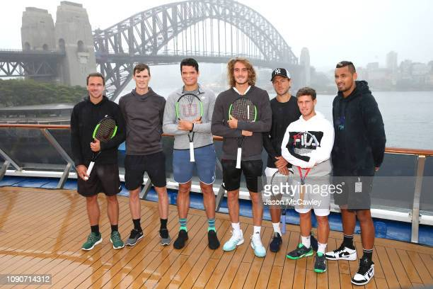 Bruno Soares Daniil Medvedev Milos Raonic Stefanos Tsitsipas Lucas Pouille Diego Schwartzman and Nick Kyrgios pose during a ATP Cup announcement...
