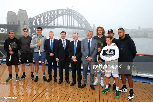 Bruno Soares Daniil Medvedev Milos Raonic Tennis Australia CEO Craig Tiley Minister for Sport Stuart Ayres NSW Minister for Tourism and Major Events...