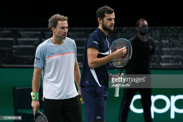 Bruno Soares of Brazil and Mate Pavic of Croatia during the Men's Doubles Final on day 7 of the Rolex Paris Masters, an ATP Masters 1000 tournament...