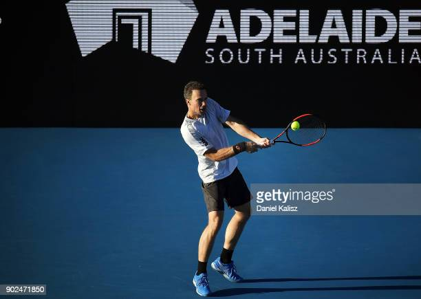 Bruno Soares of Brazil competes in his match against John Peers of Australia and Henri Kontinen of Finland during day one of the World Tennis...