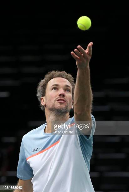 Bruno Soares of Brazil during the men's doubles final on day 7 of the Rolex Paris Masters, an ATP Masters 1000 tournament held behind closed doors at...