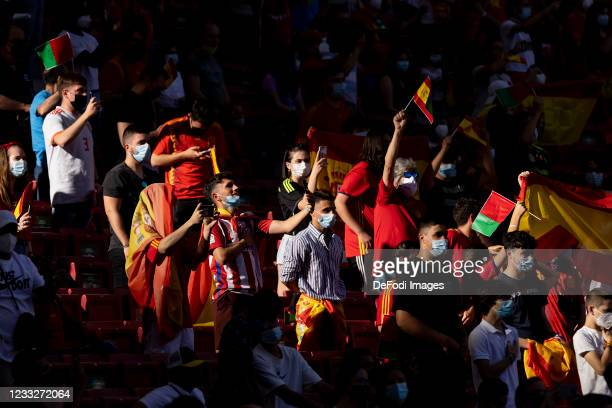 Bruno Supporters are seen prior to the international friendly match between Spain and Portugal at Estadio Metropolitano on June 4, 2021 in Madrid,...