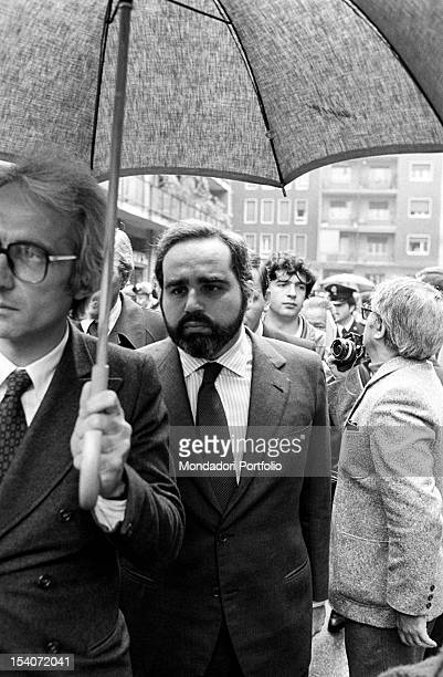 Bruno Tassan Din director of Rizzoli publishing company and publisher Angelo Rizzoli witnessing Walter Tobagi's corpse finding The journalist was...