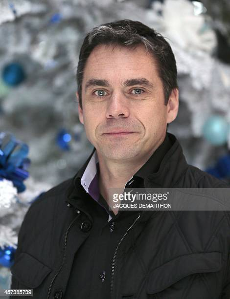 Bruno Thomas analyst for bobsleigh poses on December 17 2013 in Paris during the presentation of the French TV France Televisions' staff members who...