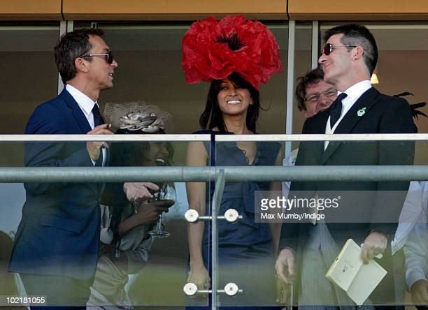 Bruno Tonioli Jackie St Clair and Simon Cowell watch the racing as they attend Royal Ascot Ladies Day at Ascot Racecourse on June 17 2010 in Ascot...