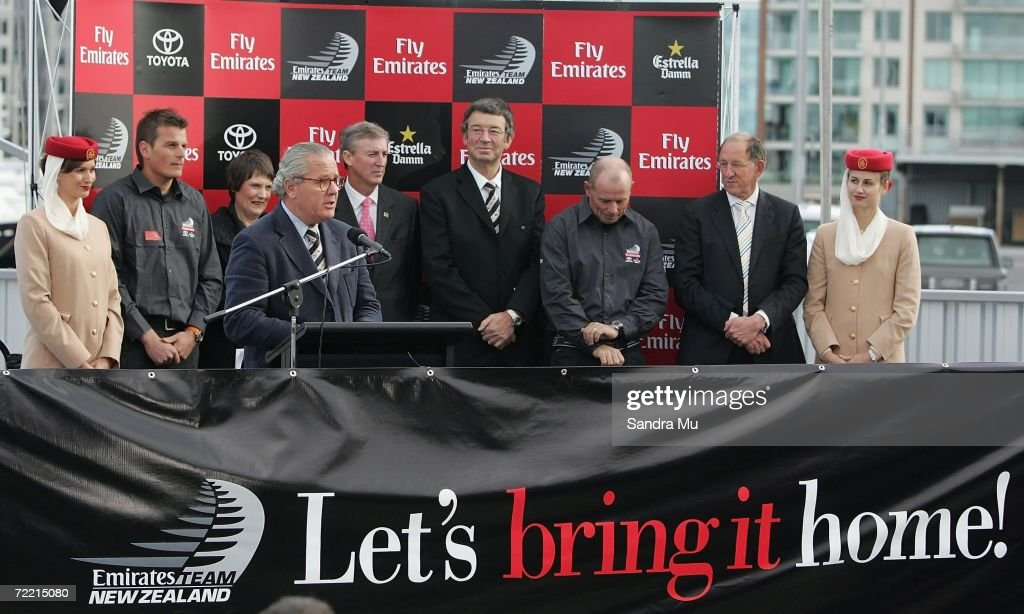 Bruno Trouble addresses the crowd during the Team New Zealand America's Cup boat launch at Viaduct Harbour on October 19, 2006 in Auckland, New Zealand.