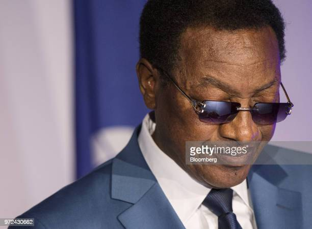 Bruno Tshibala Nzenze Democratic Republic of Congo's prime minister listens during the International Economic Forum Of The Americas in Montreal...