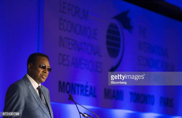 Bruno Tshibala Nzenze Democratic Republic of Congo's prime minister speaks during the International Economic Forum Of The Americas in Montreal Quebec...
