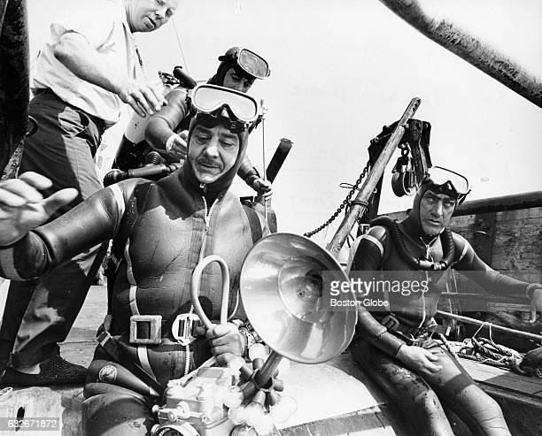 Bruno Vailati left and Cosmo Dies prepare to dive off the Narraganset to the Andrea Doria 45 miles off the coast of Nantucket Mass on July 27 1968...