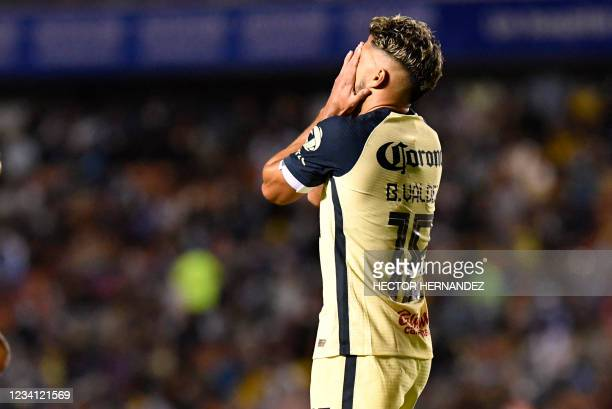 Bruno Valdes of America gestures during the match against Queretaro during their Mexican Grita Mexico Apertura 2021 tournament at La Corregidora...