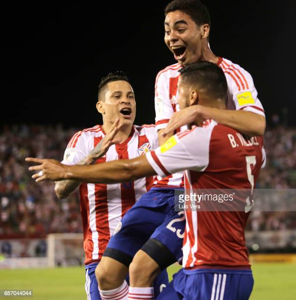 Bruno Valdez Miguel Almiron and Juan Iturbe of Paraguay celebrate their team's first goal during a match between Paraguay and Ecuador as part of FIFA...