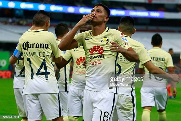 Bruno Valdez of America celebrates after scoring the first goal of his team during the 5th round match between America and Morelia as part of the...