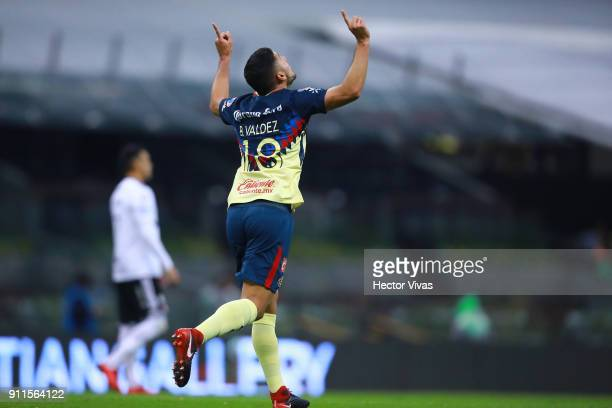 Bruno Valdez of America celebrates after scoring the first goal of his team during a match between America and Atlas as part of the 4th round of the...
