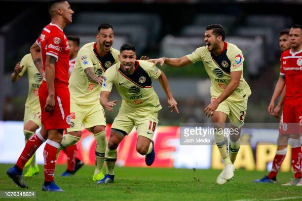 Bruno Valdez of America celebrates after scoring the second goal of his team during the quarter finals second leg match between America and Toluca as...