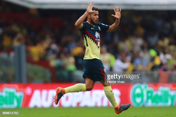 Bruno Valdez of America celebrates after scoring the second goal of his team during the semifinals second leg match between America and Santos Laguna...