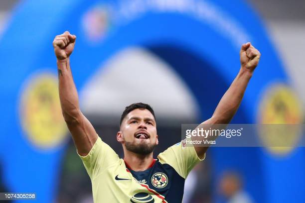 Bruno Valdez of America celebrates after winning the game during the final second leg match between Cruz Azul and America as part of the Torneo...