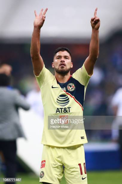 Bruno Valdez of America celebrates during the final second leg match between Cruz Azul and America as part of the Torneo Apertura 2018 Liga MX at...