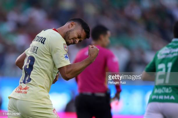 Bruno Valdez of America celebrates his goal during the semifinals second leg match between Leon and America as part of the Torneo Clausura 2019 Liga...