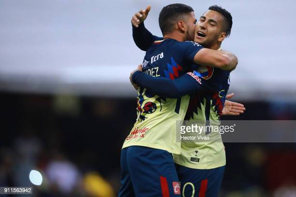 Bruno Valdez of America celebrates with teammates after scoring the first goal of his team during a match between America and Atlas as part of the...