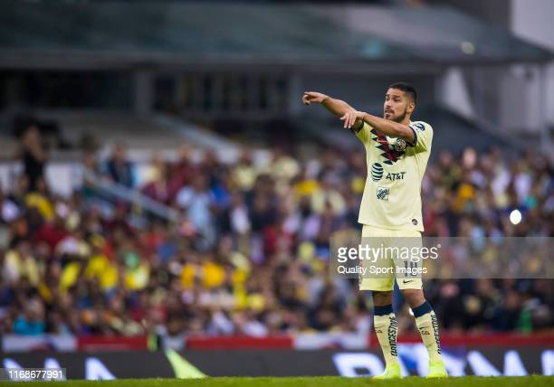 Bruno Valdez of America gestures during the 5th round match between America and Morelia as part of the Torneo Apertura 2019 Liga MX at Azteca Stadium...
