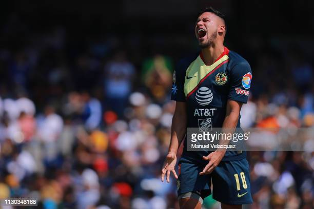 Bruno Valdez of America reacts after missing a chance of goal during the seventh round match between Pumas UNAM and America as part of the Torneo...