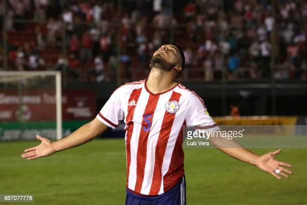 Bruno Valdez of Paraguay celebrates after a match between Paraguay and Ecuador as part of FIFA 2018 World Cup Qualifiers at Defensores del Chaco...