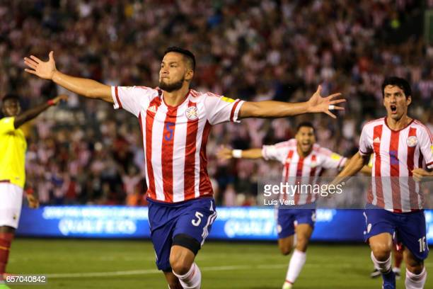 Bruno Valdez of Paraguay celebrates after scoring his team's first goal during a match between Paraguay and Ecuador as part of FIFA 2018 World Cup...
