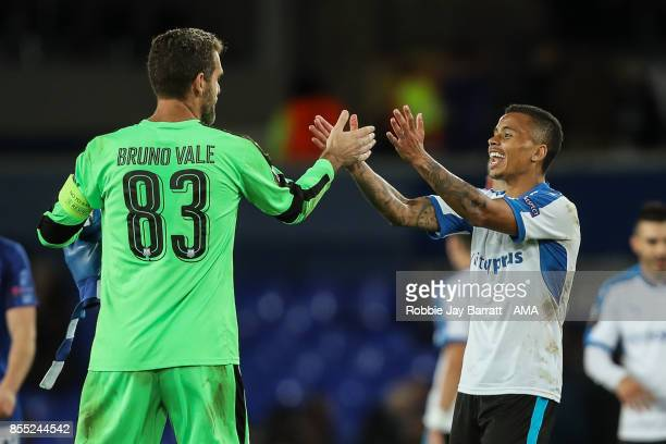 Bruno Vale of Apollon Limassol and Allan Rodrigues De Souza of Apollon Limassol celebrate at full time during the UEFA Europa League group E match...