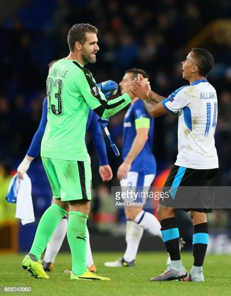 Bruno Vale of Apollon Limassol and Allan Rodrigues de Souza of Apollon Limassol celebrate during the UEFA Europa League group E match between Everton...