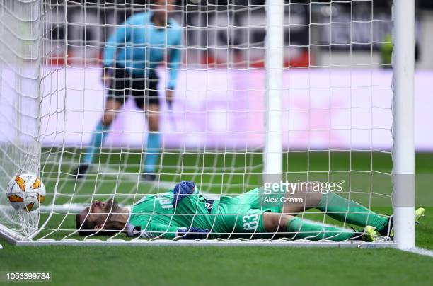 Bruno Vale of Apollon Limassol looks back as the shot of Filip Kostic of Eintracht Frankfurt crosses the line during the UEFA Europa League Group H...