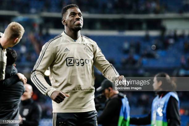 Bruno Varela of Ajax celebrates the victory after the game during the UEFA Champions League match between Real Madrid v Ajax at the Santiago Bernabeu...