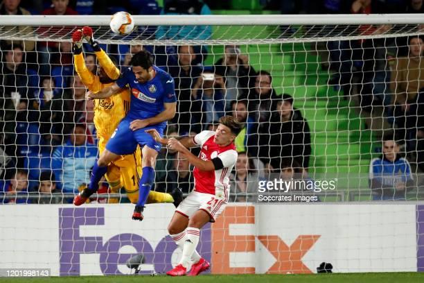 Bruno Varela of Ajax, Xabier Etxeitia of Getafe, Lisandro Martinez of Ajax during the UEFA Europa League match between Getafe v Ajax at the Coliseum...