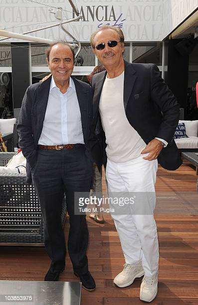 Bruno Vespa and Mauro Masi Capotondi attend the Lancia Cafe during the 67th Venice International Film Festival on September 5, 2010 in Venice, Italy.