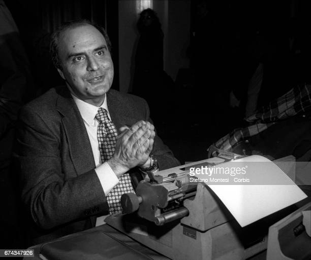 Bruno Vespa to the typewriter while preparing an article during the political committee of the Communist Refoundation Party on January 1994 in Rome...