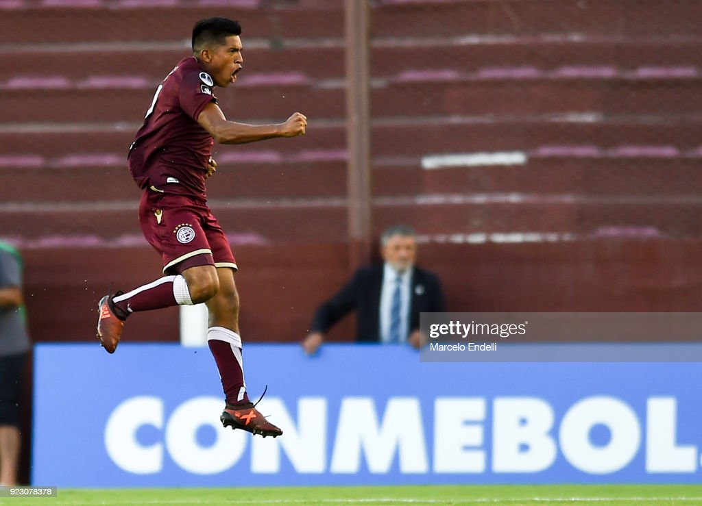 Bruno Vides of Lanus celebrates after scoring the opening goal during a first leg match between Lanus and Sporting Cristal as part of first round of Copa CONMEBOL Sudamericana 2018 at Ciudad de Lanus Stadium on February 21, 2018 in Lanus, Argentina.