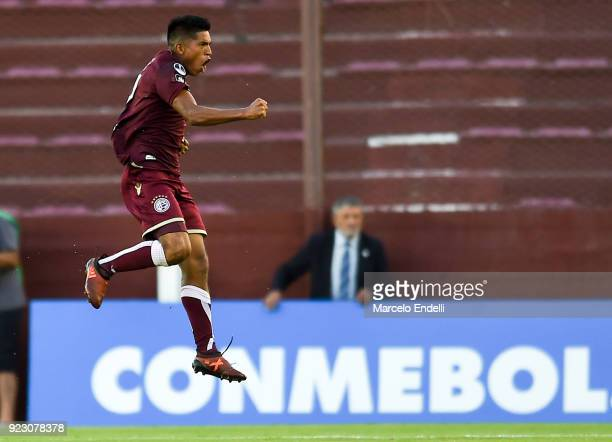 Bruno Vides of Lanus celebrates after scoring the opening goal during a first leg match between Lanus and Sporting Cristal as part of first round of...