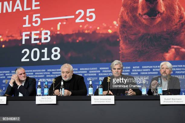 Bruno Wagner Martin Sulik Peter Simonischek and Rudolf Biermann are seen at the 'The Interpreter' press conference during the 68th Berlinale...