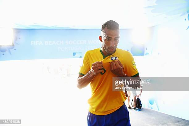 Bruno Xavier of Brazil celebrates after the FIFA Beach Soccer World Cup Portugal 2015 Group C match between Brazil and Mexico at Espinho Stadium on...