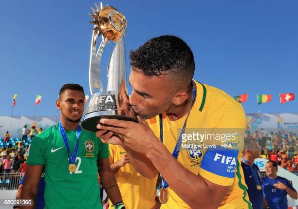Bruno Xavier of Brazil celebrates with the FIFA Beach Soccer World Cup, after beating Tahiti during the FIFA Beach Soccer World Cup Bahamas 2017...