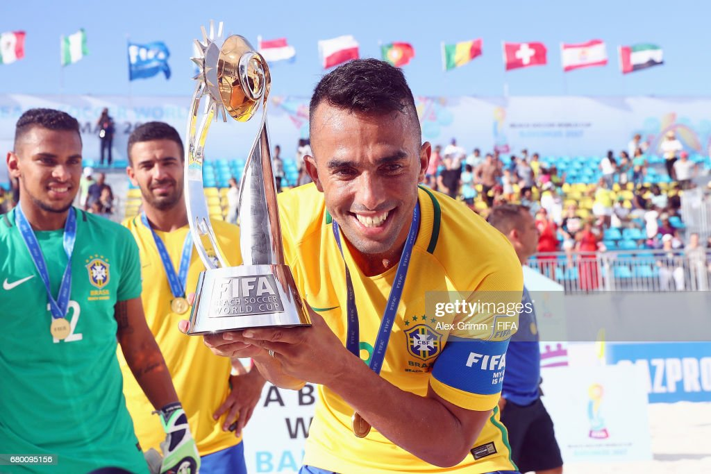 Bruno Xavier of Brazil poses with the trophy after his team won the FIFA Beach Soccer World Cup Bahamas 2017 final between Tahiti and Brazil at National Beach Soccer Arena at Malcolm Park on May 7, 2017 in Nassau, Bahamas.