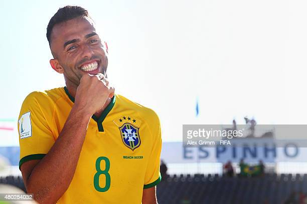 Bruno Xavier of Brazil smiles after the FIFA Beach Soccer World Cup Portugal 2015 Group C match between Brazil and Mexico at Espinho Stadium on July...
