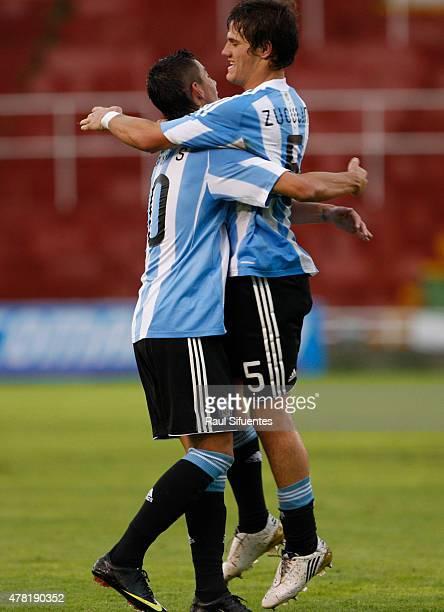 Bruno Zuculini de Argetina celebra su gol durante un partido en el marco del Sudamericano Sub 20 entre las selecciones de Colombia y Argentina el 12...