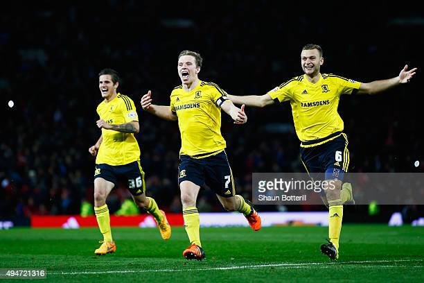 Bruno Zuculini Grant Leadbitter and Ben Gibson of Middlesbrough celebrate victory after the penalty shoot out during the Capital One Cup Fourth Round...